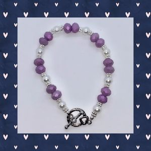 Lavender Faceted and White Pearl Bracelet